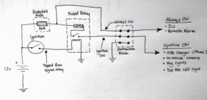 Wiring diagram of my setup - see that fused relay there?
