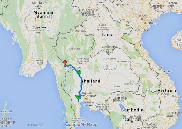 Day 4 - Ratchaburi to Mae Sot. 580km on the odometer.