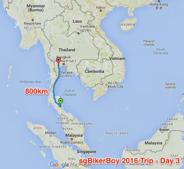 Day 3's route. Some 800km from Thale Noi to Ratchaburi.