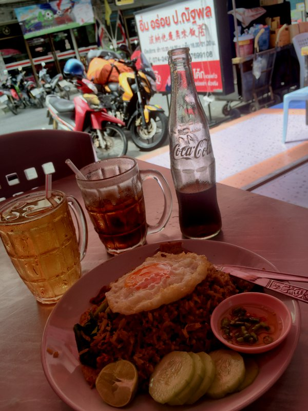 Lunch at Hat Yai. THB85 for beef fried rice, a glass of tea and a bottle of Coke. Yes - I was THAT thirsty!