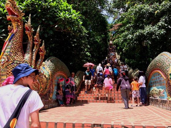 The walk up to Wat Phra That Doi Suthep - the temple up at Doi Suthep. Pant! Pant! Not an easy climb!