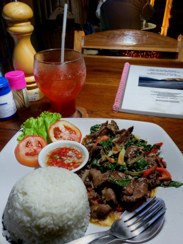 Dinner in Mae Hong Son - stir fried beef with basil leaves and rice.