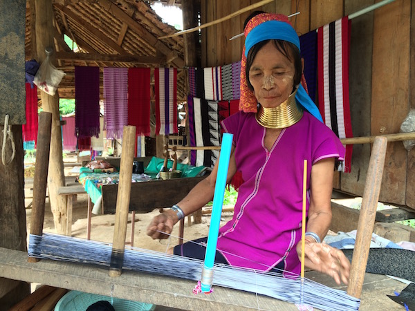 This lady was weaving a scarf using only very basic tools. I bought one from her for 100THB.