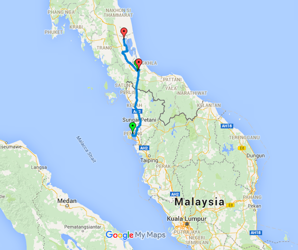 Today's route - approximately 360km including the border crossing.