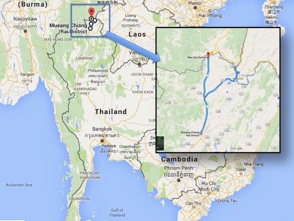 Day 18's route. Chiang Rai - Golden Triangle - Mae Sai.