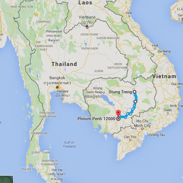 Day 33's route - Stung Treng to Phnom Penh.