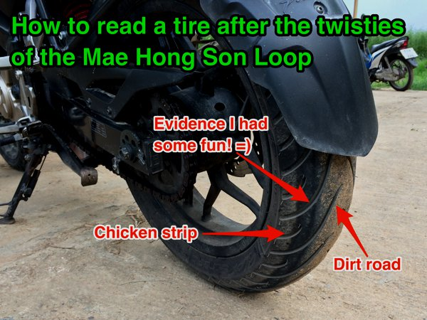 Speaking of chickens, I noticed an interesting pattern on my rear tire.