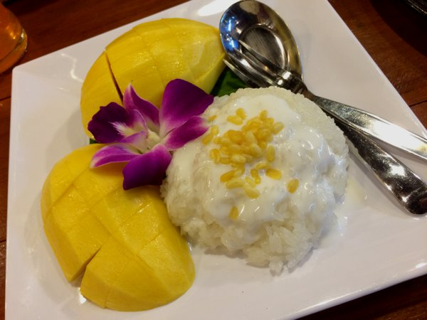 I needed something sweet at the end of the day. The mango with sticky rice (kao niu mae muang) was really good.