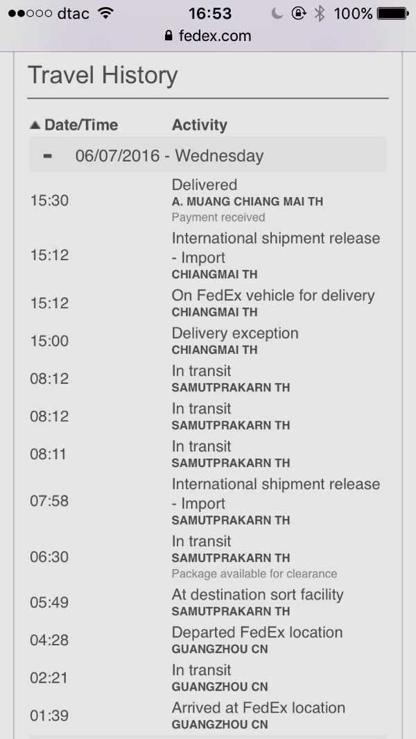 The Bajaj parts have arrived from Singapore! Approximately 20 hours only from Singapore to Chiang Mai! And it even travelled to Guangzhou! Wow! I'm impressed!