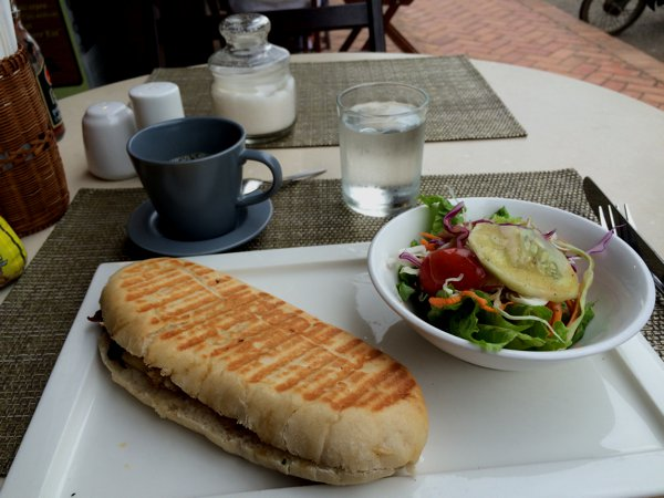 Breakfast in a local French restaurant. Panini! Many restaurants in Luang Prabang cater to the western tourists.