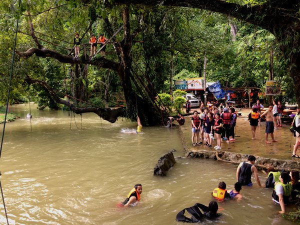 Headed to the (not so) Blue Lagoon in Vang Vieng. Tourists were thronging the place.