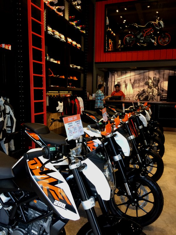 Brand new KTM machines all lined up.