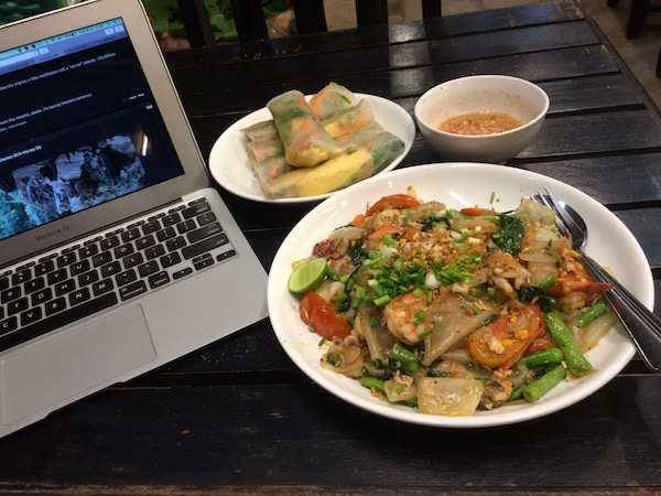Dinner at Sabaidee Pakse Restaurant...and some online research because good internet WiFi is so hard to come by here in Laos.