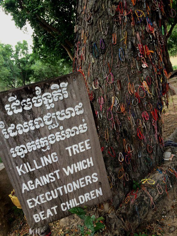 Can you actually believe that the executioners of the Pol Pot's Khmer Rouge regime actually held children by their legs and slammed them against this tree? They were killed, of course. I actually shed a tear when I going through the audio commentary and saw this tree.