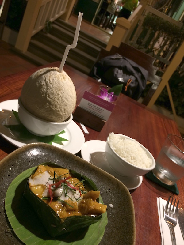 Dinner at a restaurant called Romdeng. It was a recommendation from a hotel staff. I ordered the fish amok and a young coconut.