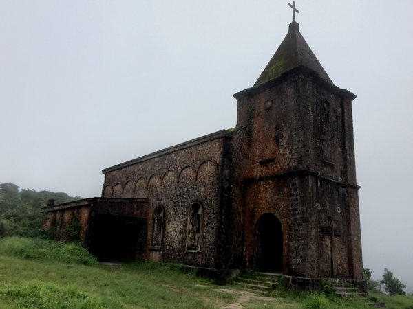 The old catholic church of Bokor Mountain.