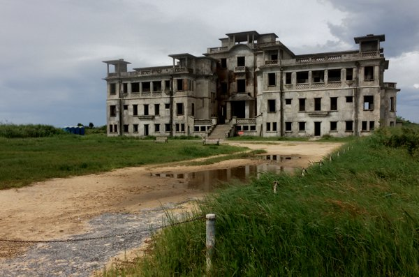 The abandoned old French casino. I walked in and it was eerie. In fact, the whole place in Bokor Mountain has an eerie chill to it and makes for the perfect site to shoot a horror film.