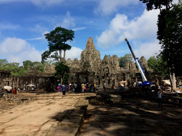 Entrance to Bayon Temple. Obvious restoration works going on to the right side.