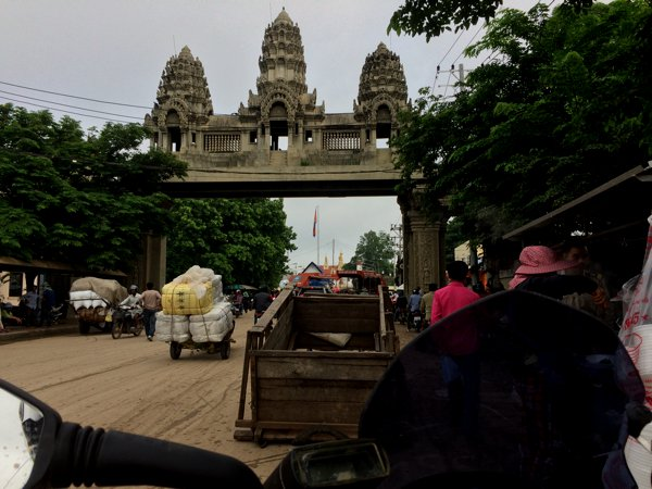 Leaving Cambodia. The distinct Khmer / Ankor styled gateway.