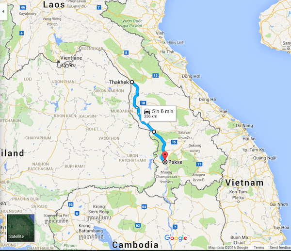 Today's route - Thakhek to Pakse. I'm heading south!