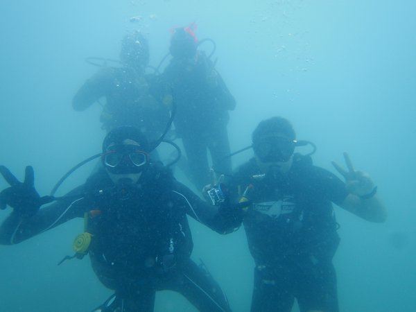 Underwater group shot.