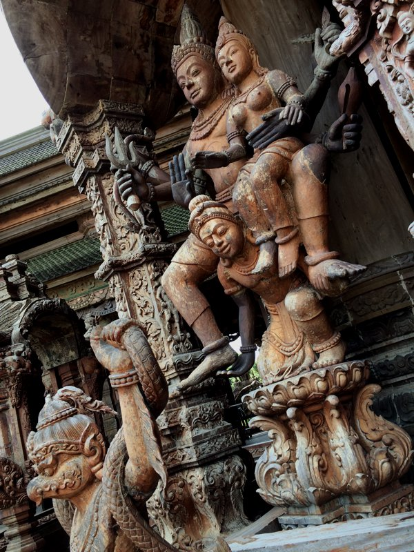 The designs of the wooden sculptures are inspired by Thai, Khmer, Chinese and Indian cultures.
