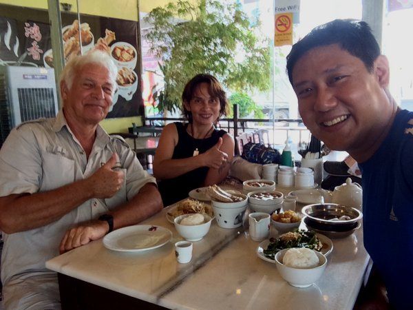 Lunch with Michel and his wife, Pim. I introduced them to Bah Kut Teh - pork rib soup. It is always so nice to meet fellow motorcycle travellers, and definitely very nice to meet them again!
