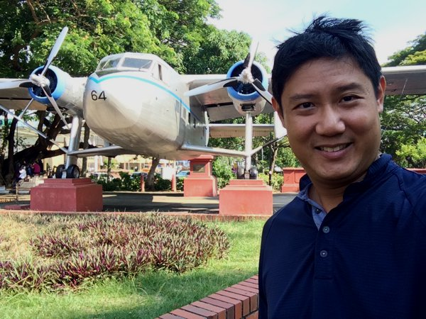 The propeller plane relic in Coronation Park, just a couple of steps away from A Famosa fort.