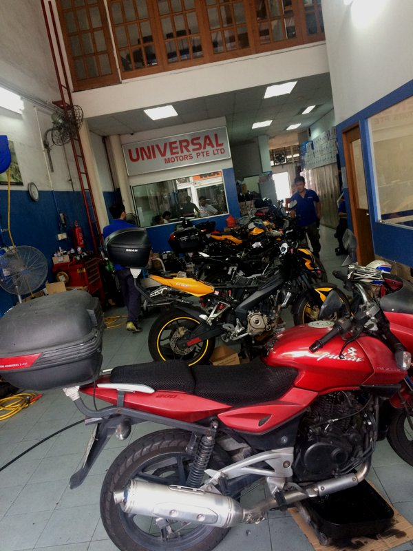 My Pulsar 200NS getting some love at the home of Pulsars in Singapore - Universal Motors.