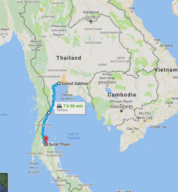 I iron-butted my way down south to Surat Thani. Yup - that's about the correct number of hours I was on the road for.