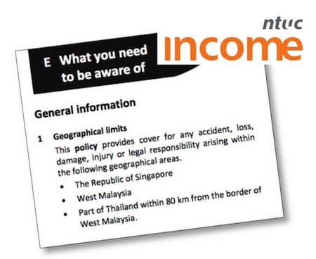 NTUC Income's motorcycle insurance covers part of Thailand.