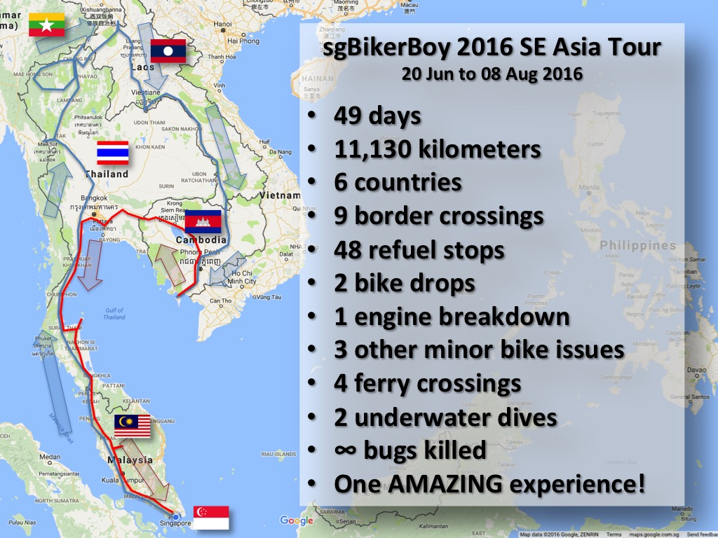 sgBikerBoy 2016 SE Asia Tour Stats. 49 days, 11,130kms, 6 countries, 9 border crossings, 48 refuel stops, 2 bike drops, 1 engine breakdown, 3 other minor bike issues, 4 ferry crossings, 2 underwater dives, ∞ bugs killed, and One AMAZING experience!