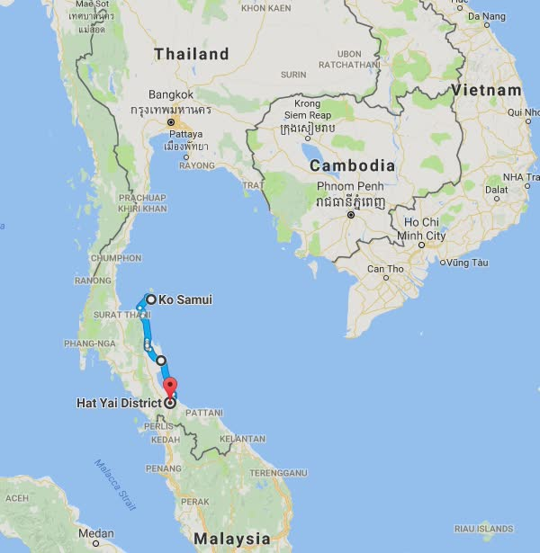 Day 45's route. Koh Samui to Hat Yai.