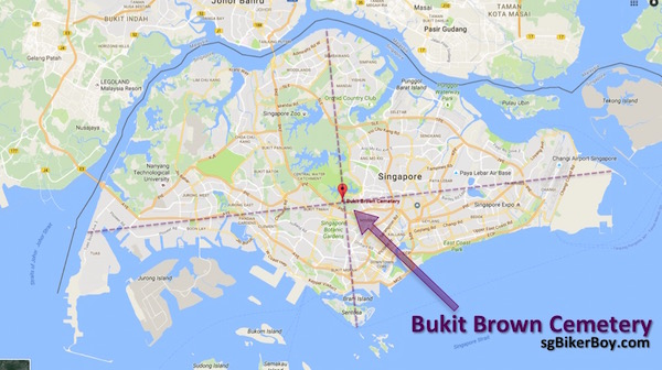 The location of Bukit Brown Cemetery seem to lie at the intersection between the two lines joining the tips of Singapore.