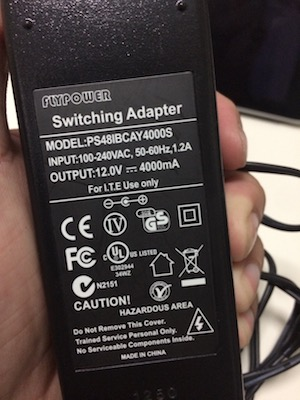 This power supply is rated at 12V 4000mA.