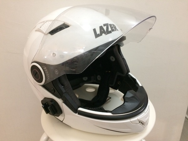 The PSB-approved Lazer Corsica Z-Line convertible helmet with chin bar attached.